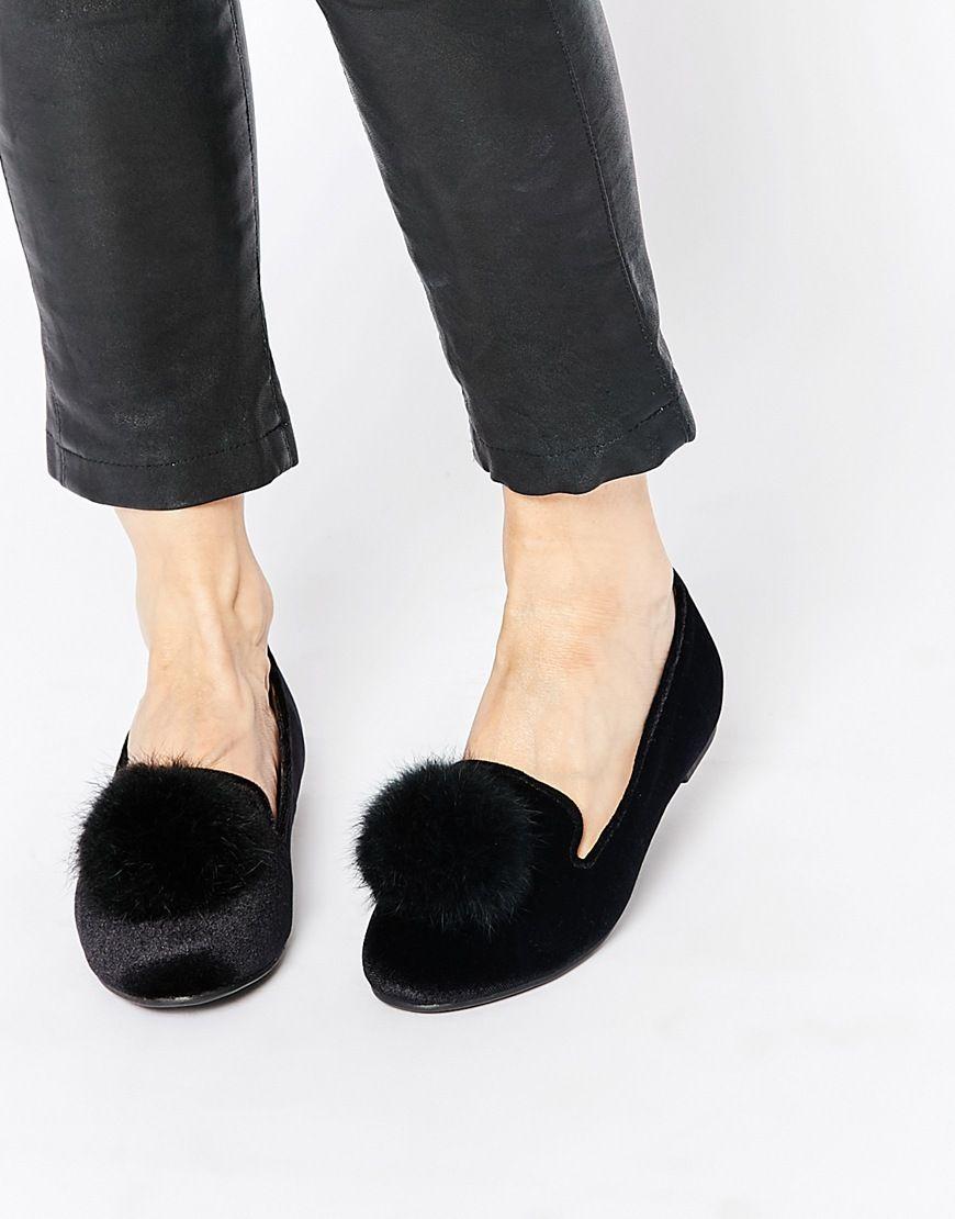 Truffle Collection Mira Pom Pom Velvet Slipper Shoes