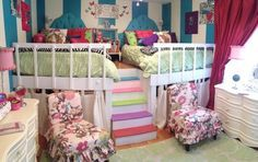 22 Adorable Girls Shared Bedroom Designs - This one is perfection!  Minus the girly-ness.  Not quite bunk beds (safer) and they can use the space underneath for a play nook!