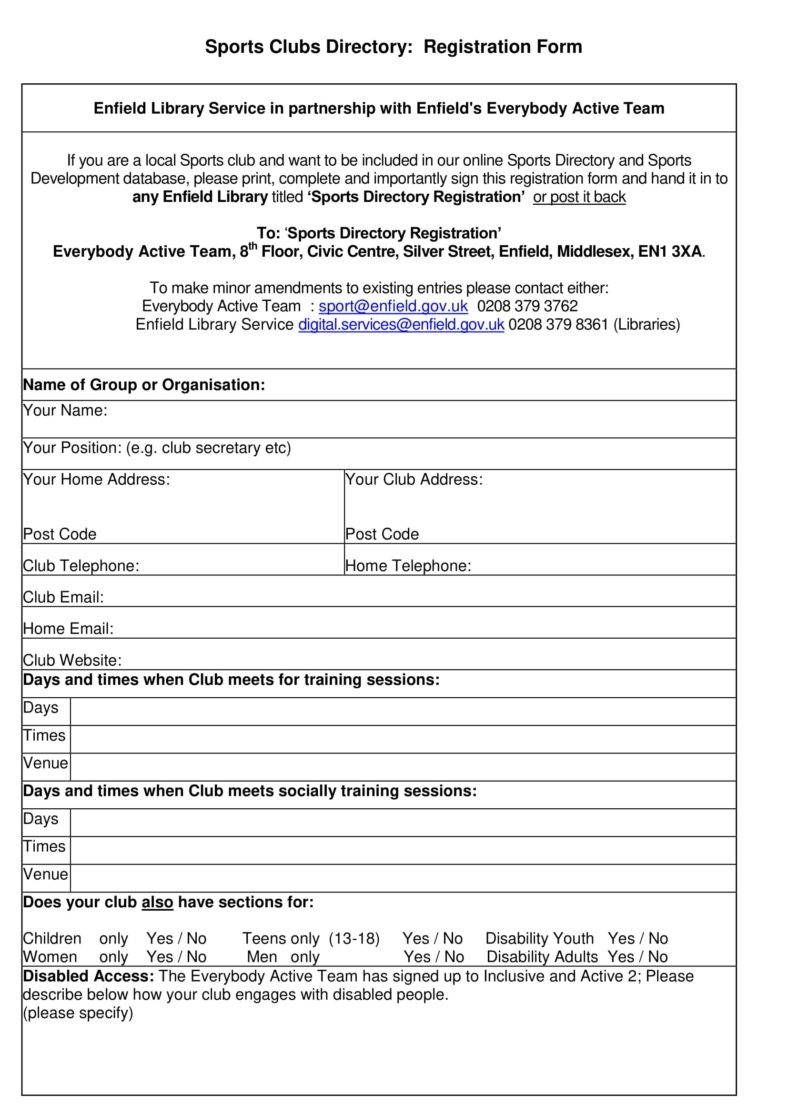 Youth Sports Registration Form Template Calep Midnightpig Co Inside Camp Registration Form Template Wo In 2020 School Newsletter Template Registration Form Templates