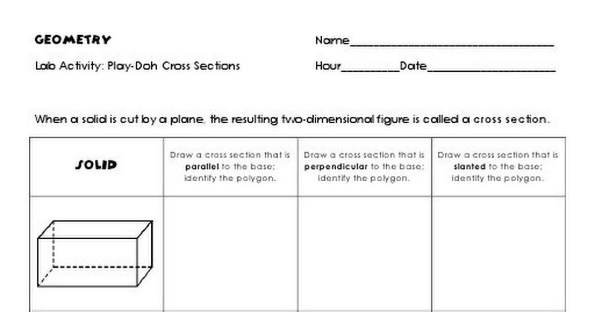 Play Dough Lab Activity Pdf Teaching Mathematics Teaching Geometry Chemistry Worksheets Cross section worksheet 7th grade