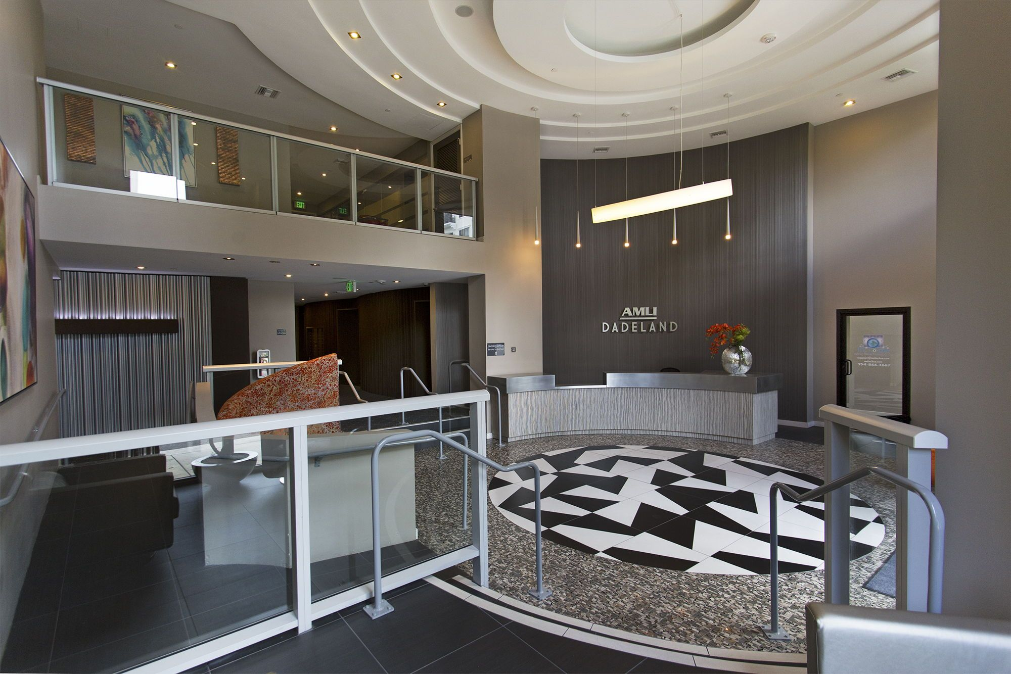 This stylish lobby is for a luxury apartment community in