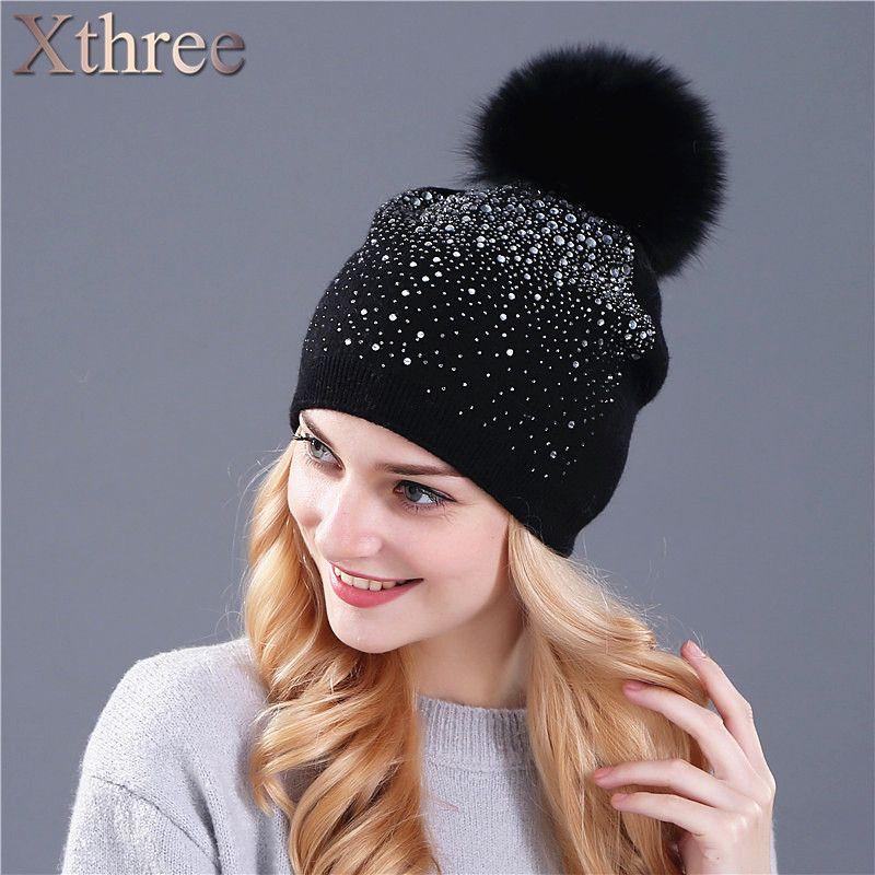 Xthree 여성의 겨울 모자 토끼 모피 모직 니트 모자 여성 의 밍크 폼폼 빛나는 라인 석 모자 비니