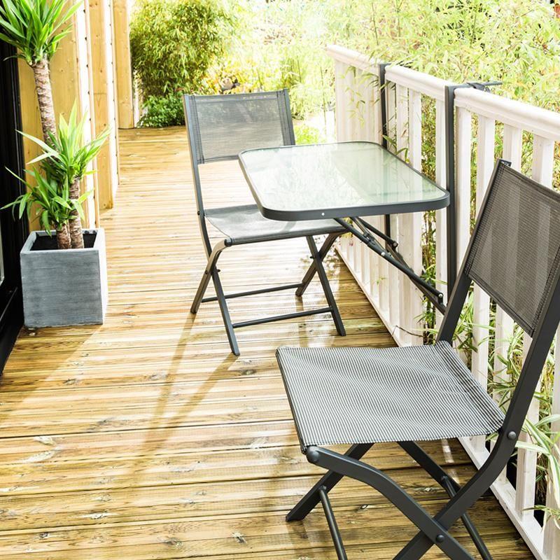 Balcon Et Structure En Acier Sublimant Votre Extérieur: Table De Balcon En Acier + 2 Chaises Pliante Modulo Grise