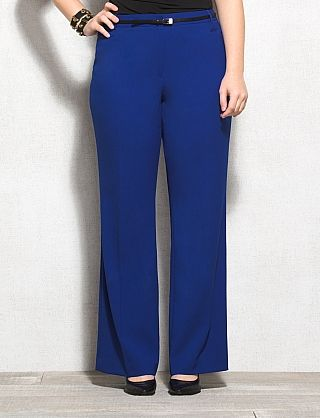 Plus Size Belted Blue Dress Pants