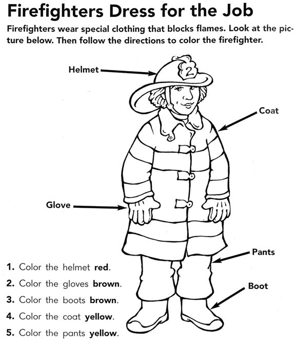Firefighter Coloring Page Fire Fighters Preschool Fire Safety