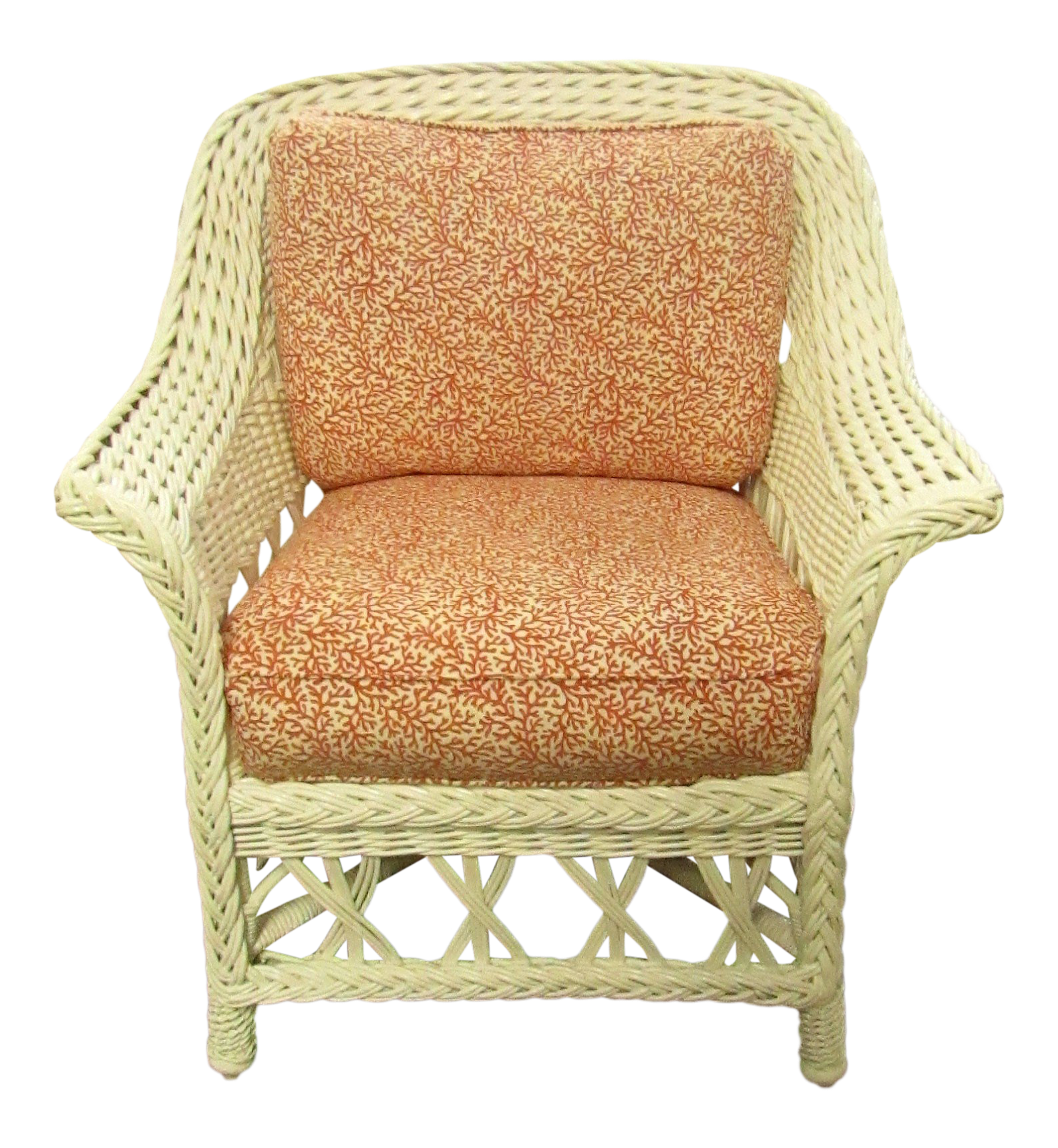 Vintage White Wicker Side Chair on (With