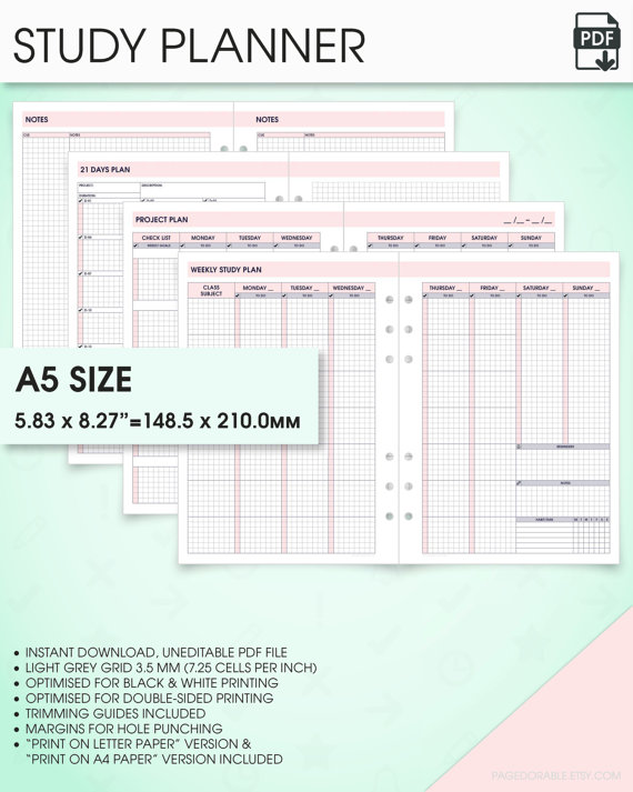 Student planner printable kit a5 inserts (a5 study planner ...