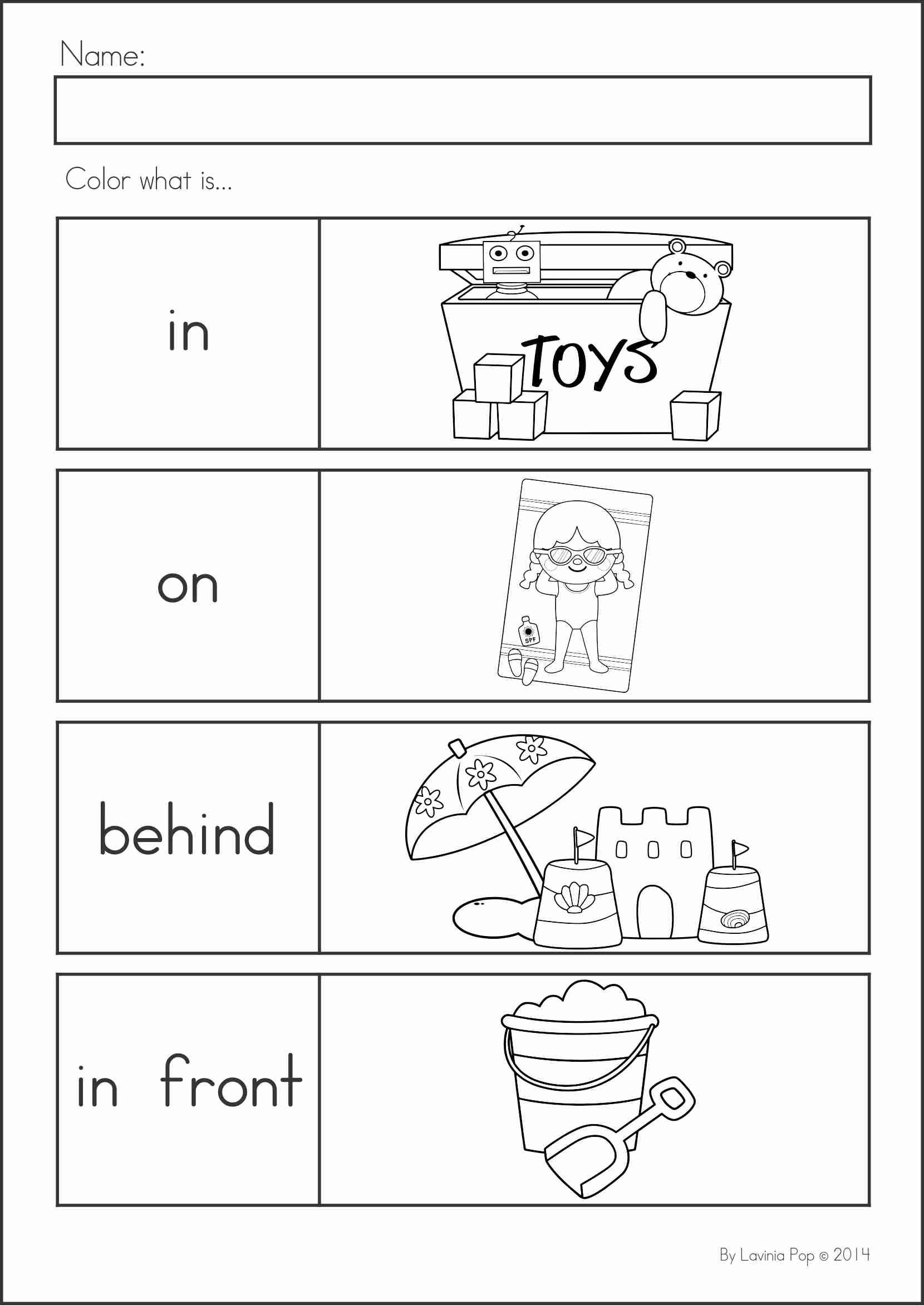 Positional Words Worksheet For Preschool