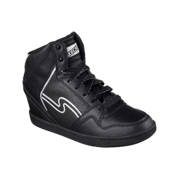 49fa550712d Women s Skechers OG 80 Swag High Top Wedge Sneaker - Black Casual ( 50) ❤  liked on Polyvore featuring shoes