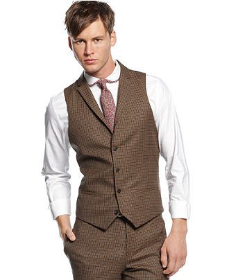 Bar Iii Vest Carnaby Collection Brown Multicheck Slim Fit Blazers Sport Coats Men Macy S