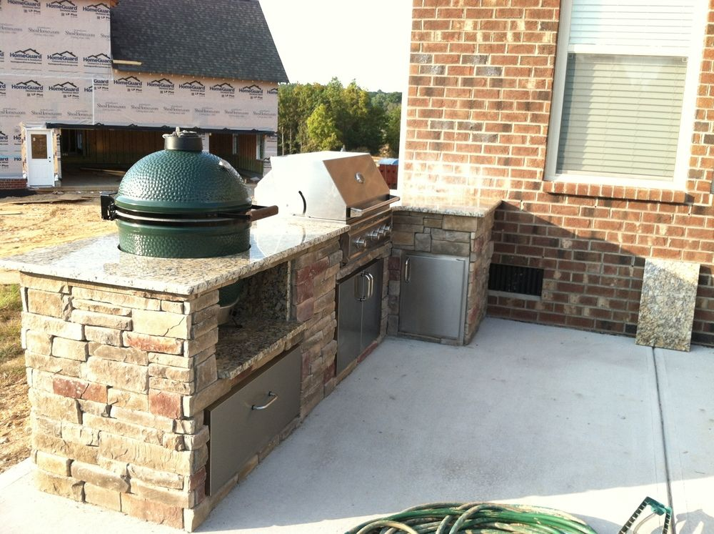 Diy Outdoor Kitchen With Green Egg And Grill Yahoo Image Search