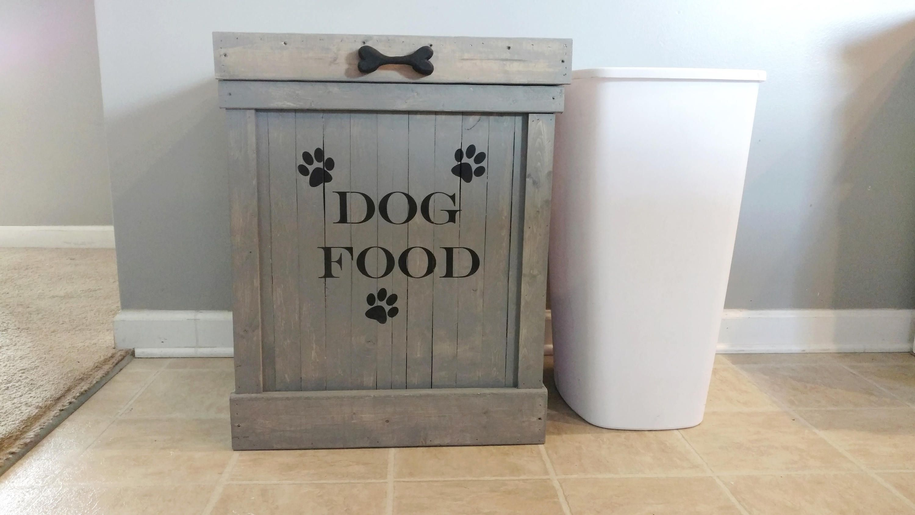 13 Gallon Dog Food Holder Pet Food Storage Container Wood Dog