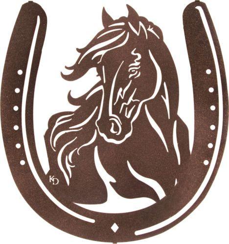 HORSESHOE HORSES ART WALL OR GATE  STEEL TEXTURED BLACK POWDER COAT FINISH