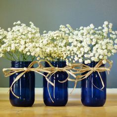 Set Of Three Cobalt Blue Mason Jar Vases Hand Painted By Litdecor Maybe Red Wi Blue Wedding Decorations Painted Mason Jar Centerpieces Mason Jar Centerpieces