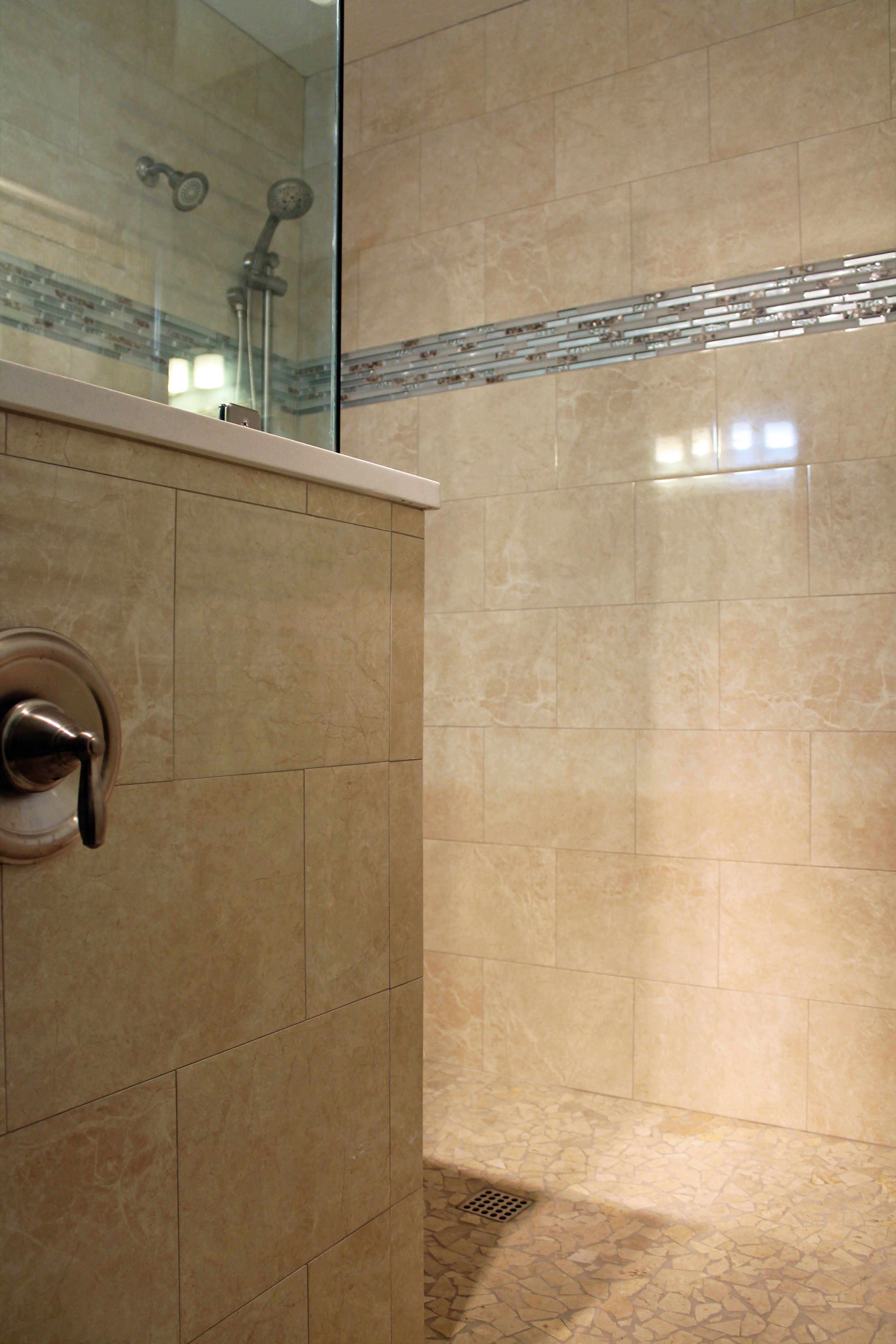 Large tile shower design travertine look wall tile blue glass large tile shower design travertine look wall tile blue glass mosaics ideas dailygadgetfo Images