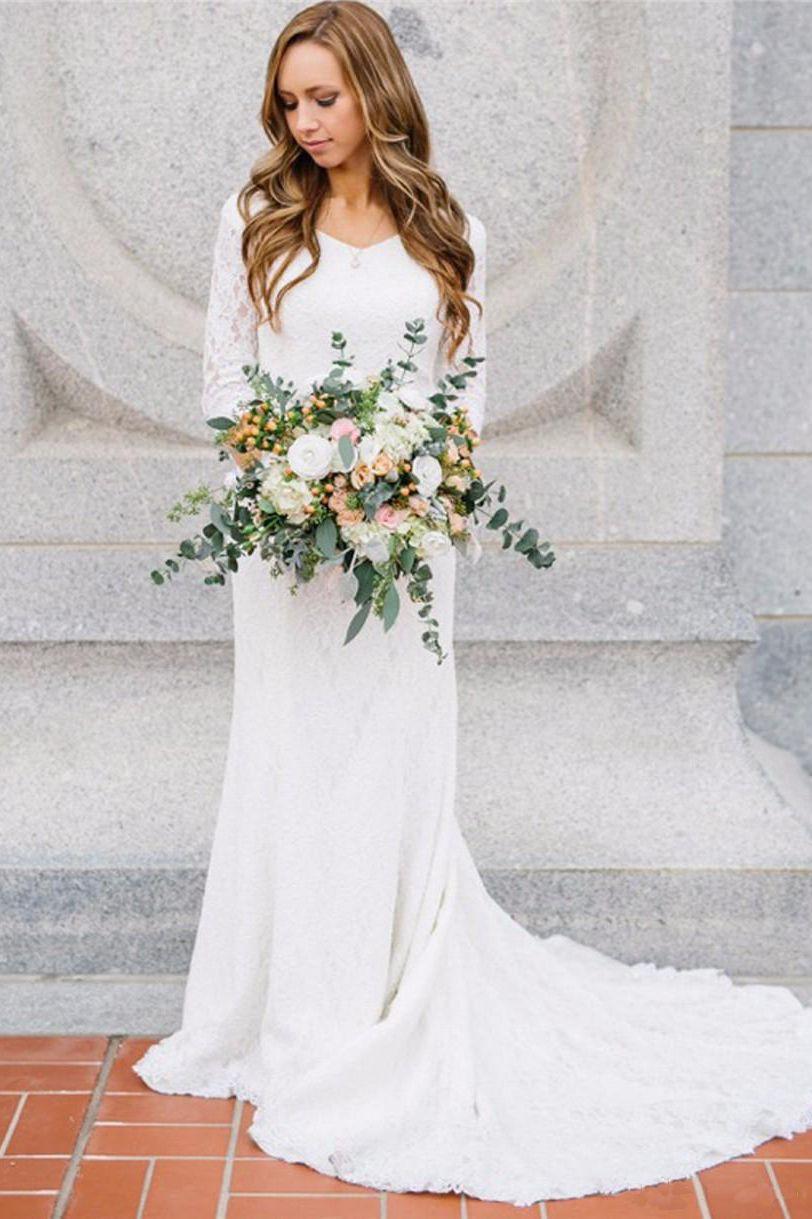 V Neck Chiffon Lace Illusion 3 4 Length Sleeve Wedding Gown