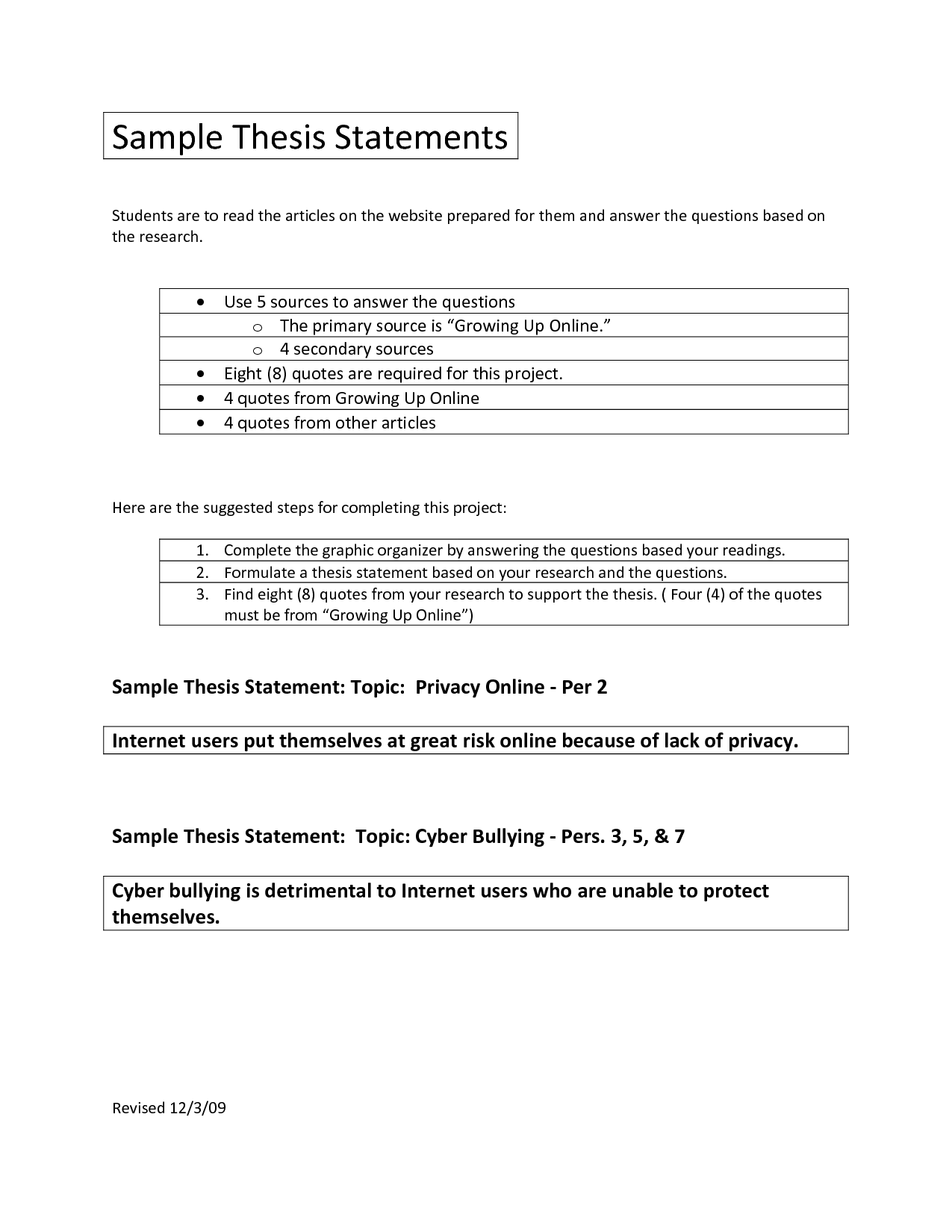 Essay Outline With Thesis Statement