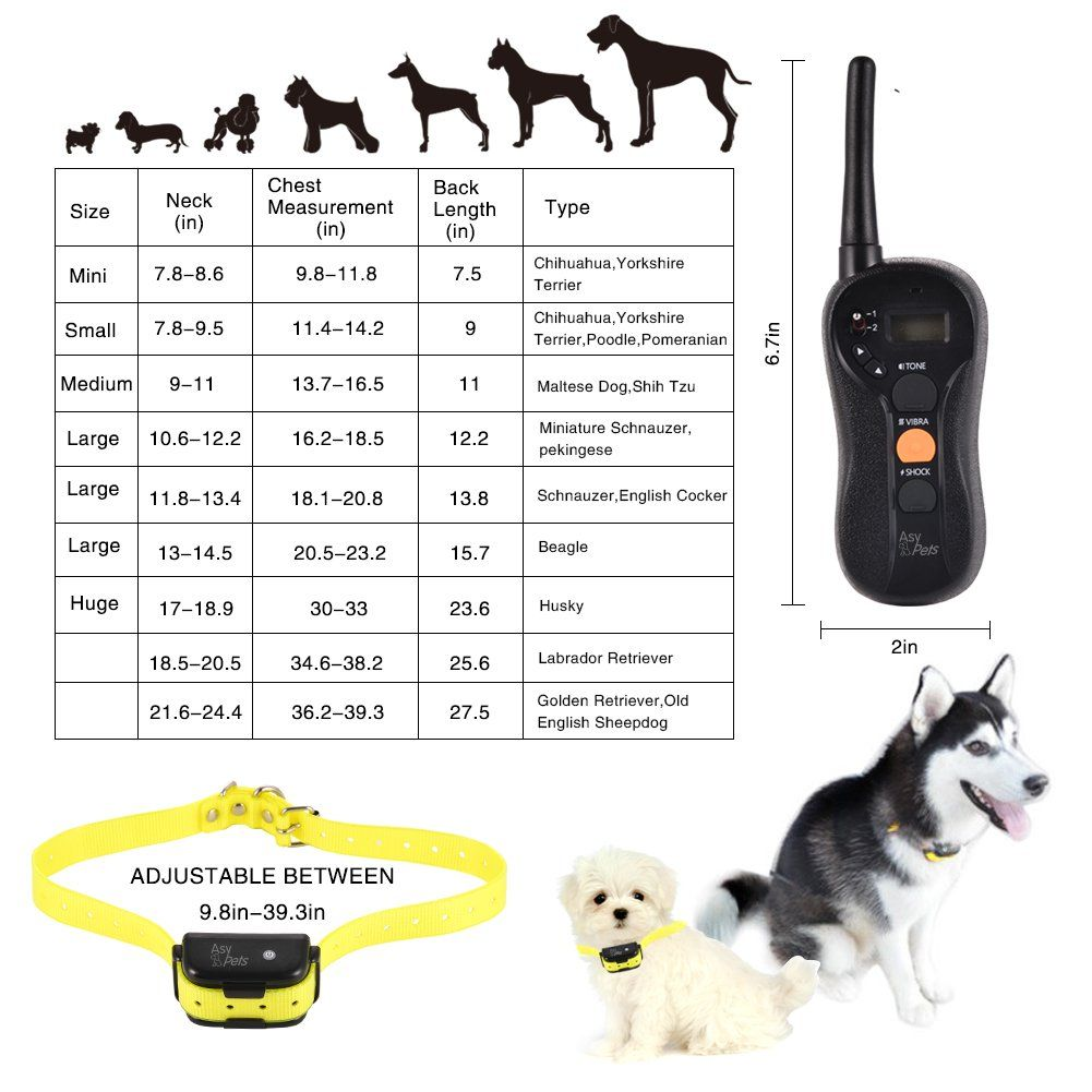 Waterproof And Rechargeable Dog Training Collar For 15100lb 650yd