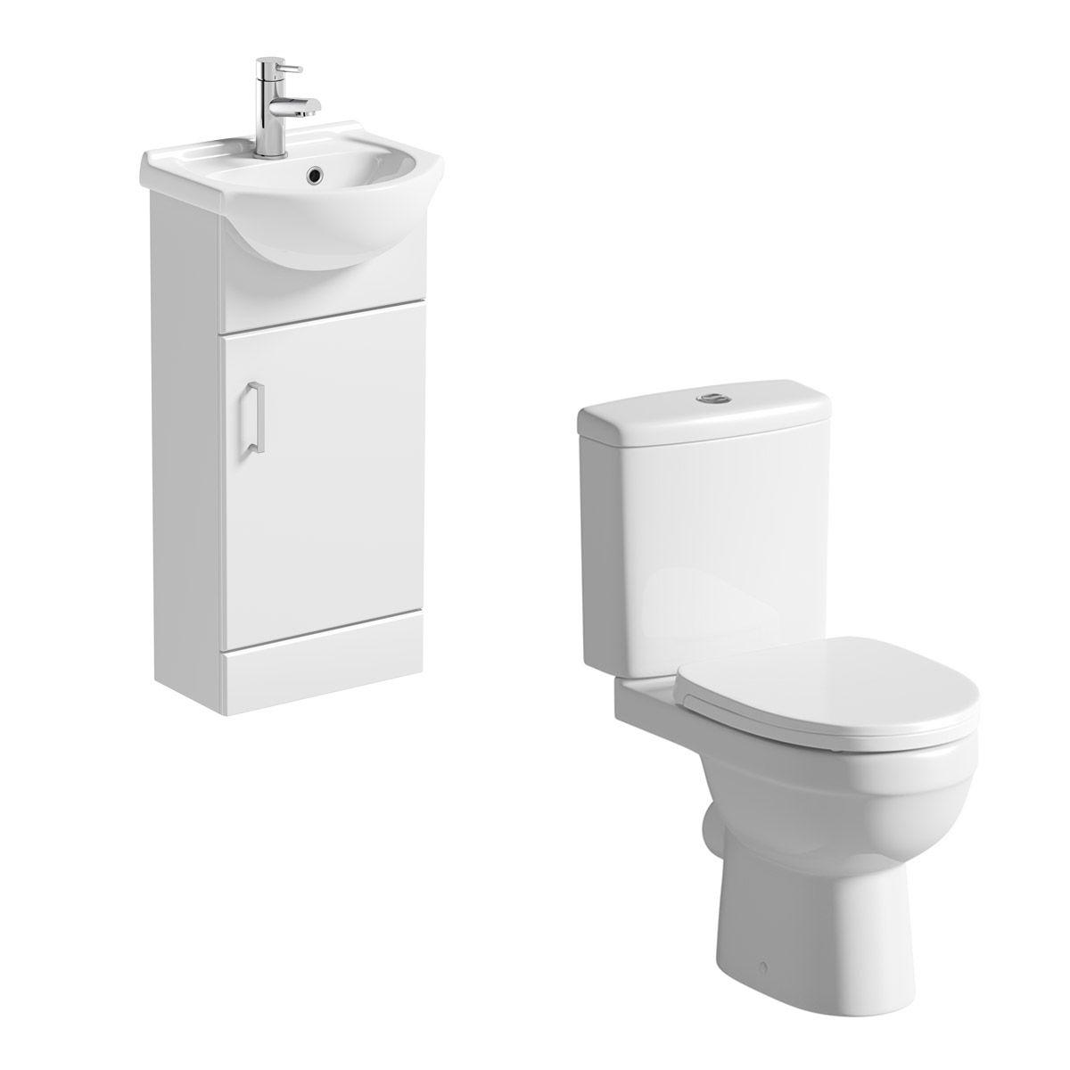 550mm Bathroom Vanity Unit Basin Sink Cabinet /& Close Coupled Toilet Pan Cistern