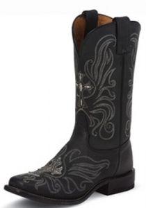 Tony Lama San Saba Black Century Ladies Cowgirl Roper Boots Style 7932L