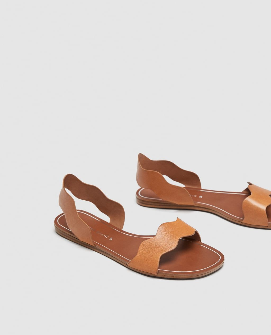 002e1615 Image 2 of LEATHER SLIDES WITH WAVY STRAPS from Zara   Life & Style ...