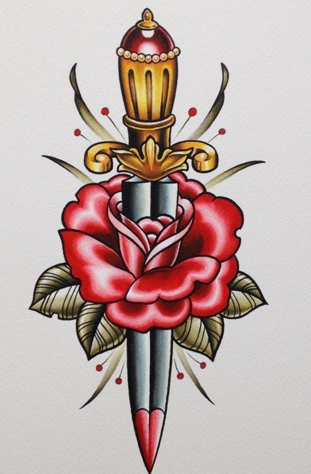 Tatuajes de dagas tradicionales y dise os para descargar - Tattoo disenos a color ...