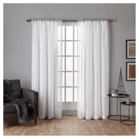 Spirit Woven Pouf Applique Sheer Rod Pocket Window Curtain Panel