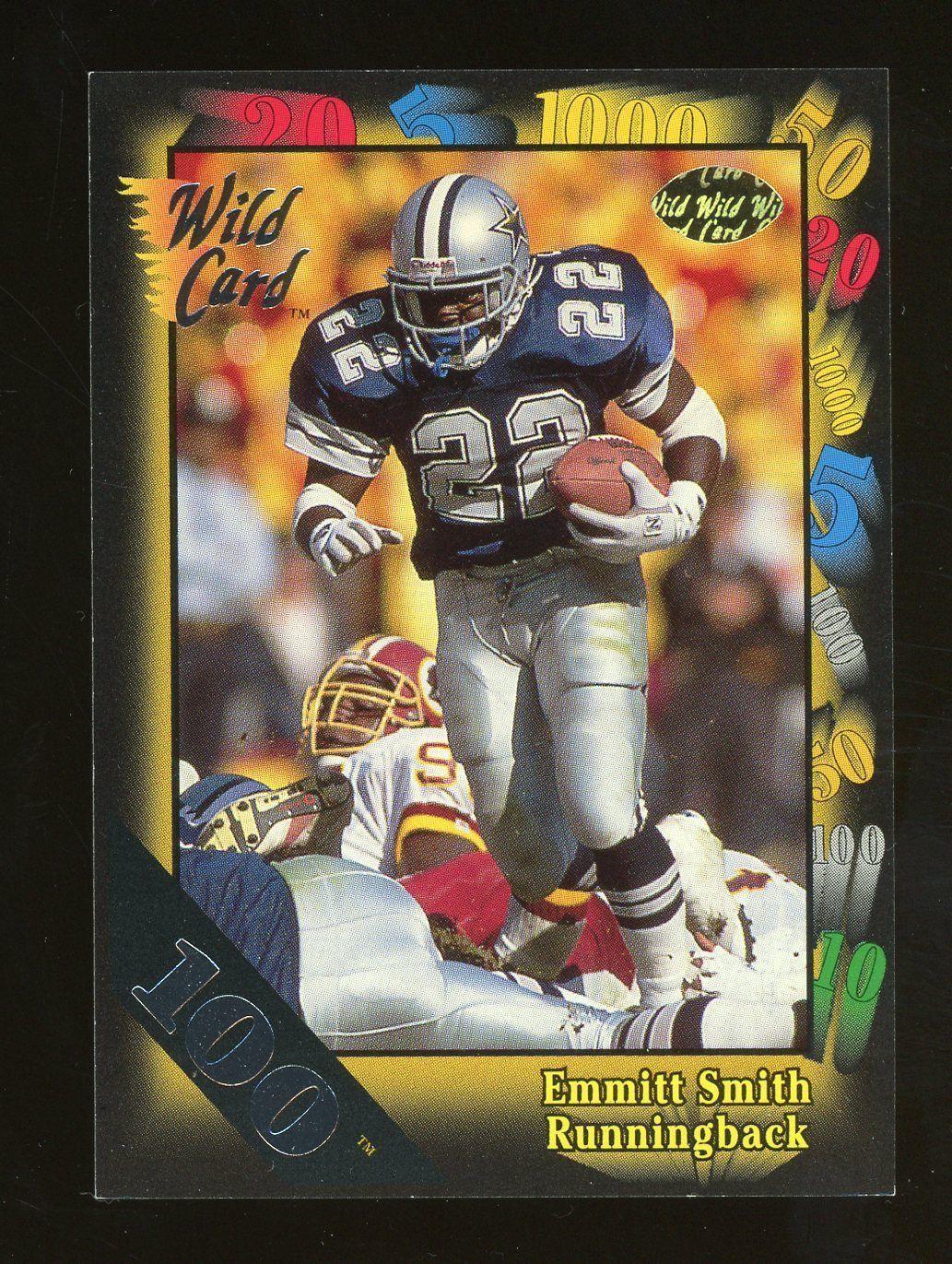 1991 wild card 100 stripe emmitt smith dallas cowboys hof