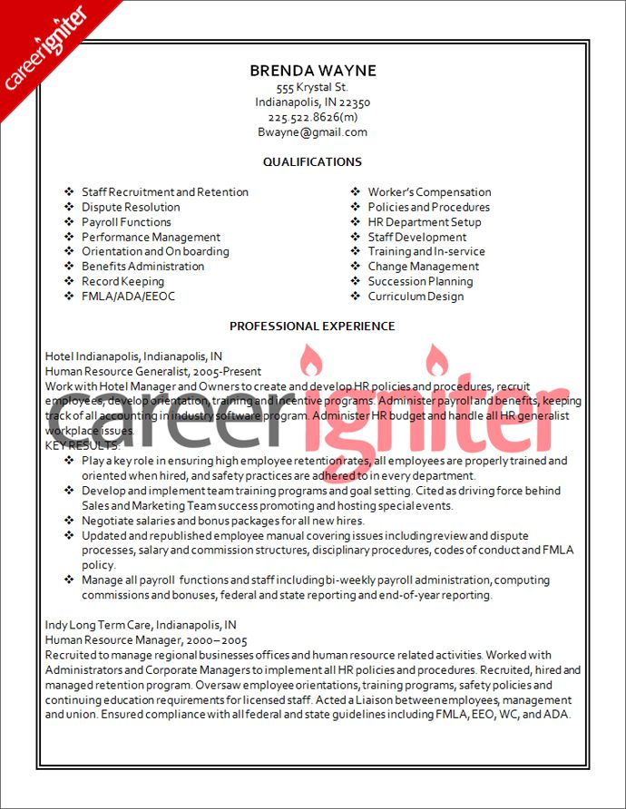 Human Resources Resume Sample Resume Pinterest - hotel management resume