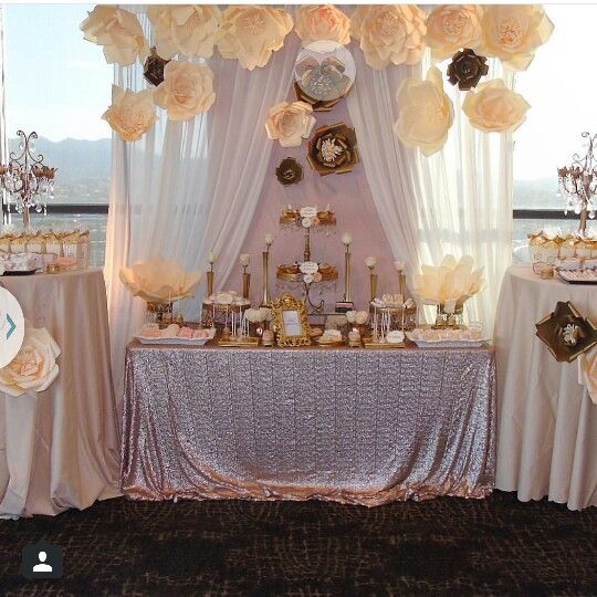 Gold Candy table setup | Pearl and Lavender Sweet 16 ...
