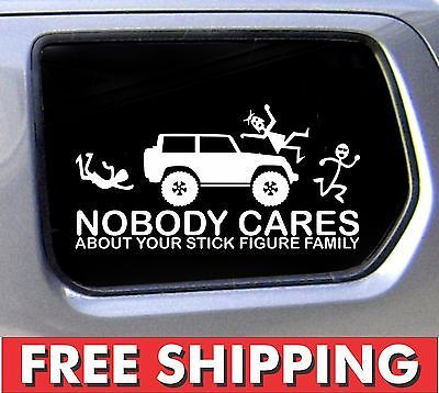 Stick Figure Family Sticker For Jeep Nobody Cares Truck Funny Car - Family car sticker decalsfamily car decals ebay