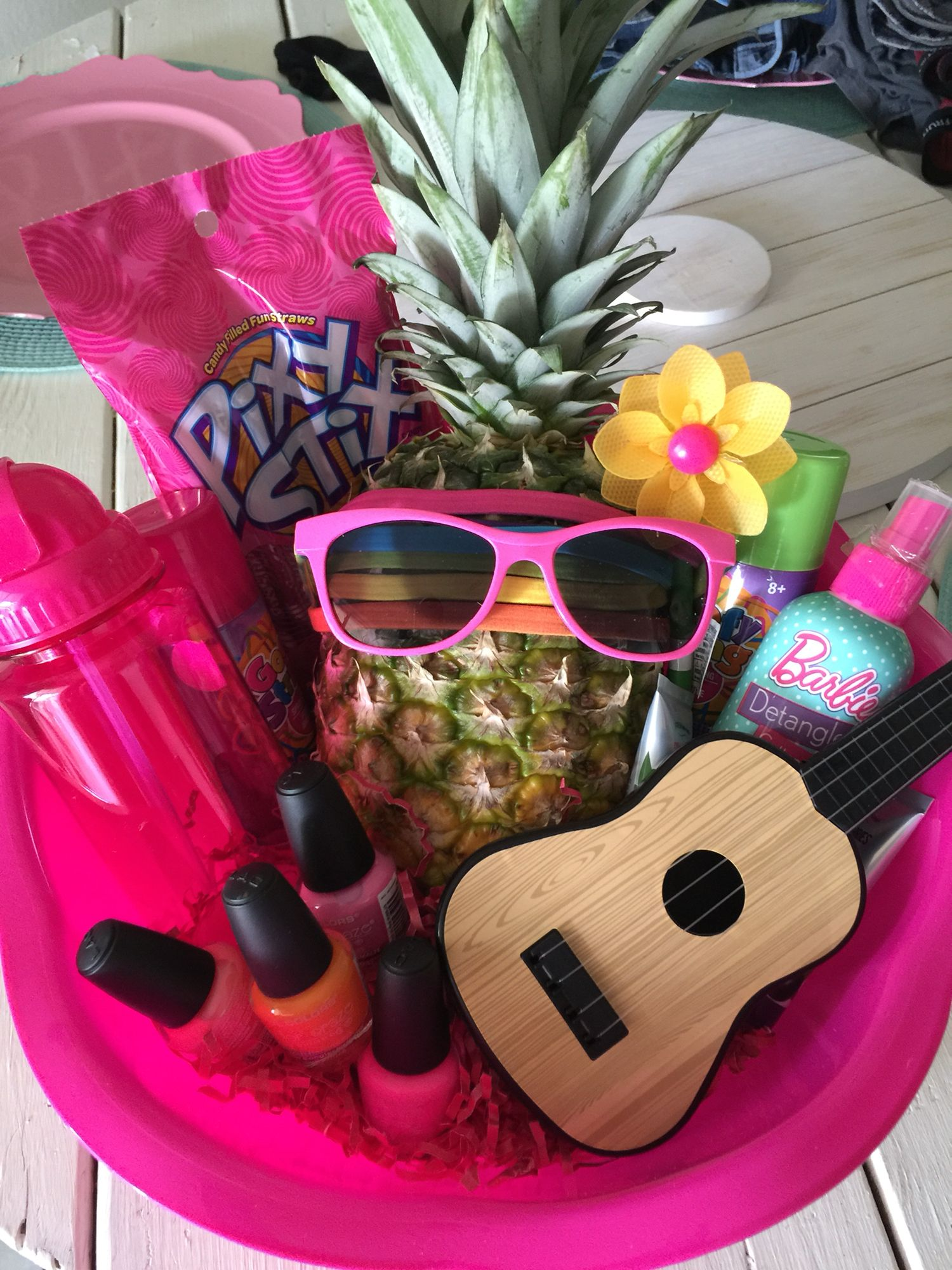 Made this DIY Hawaiian themed basket for a little girls birthday