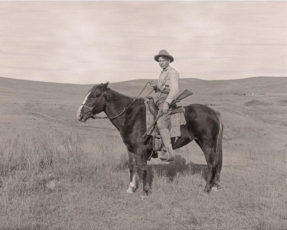 """Smith 1910 Photo Wrangler 20/""""x16/"""" antique Erwin E Cowboy /& Horse Western"""
