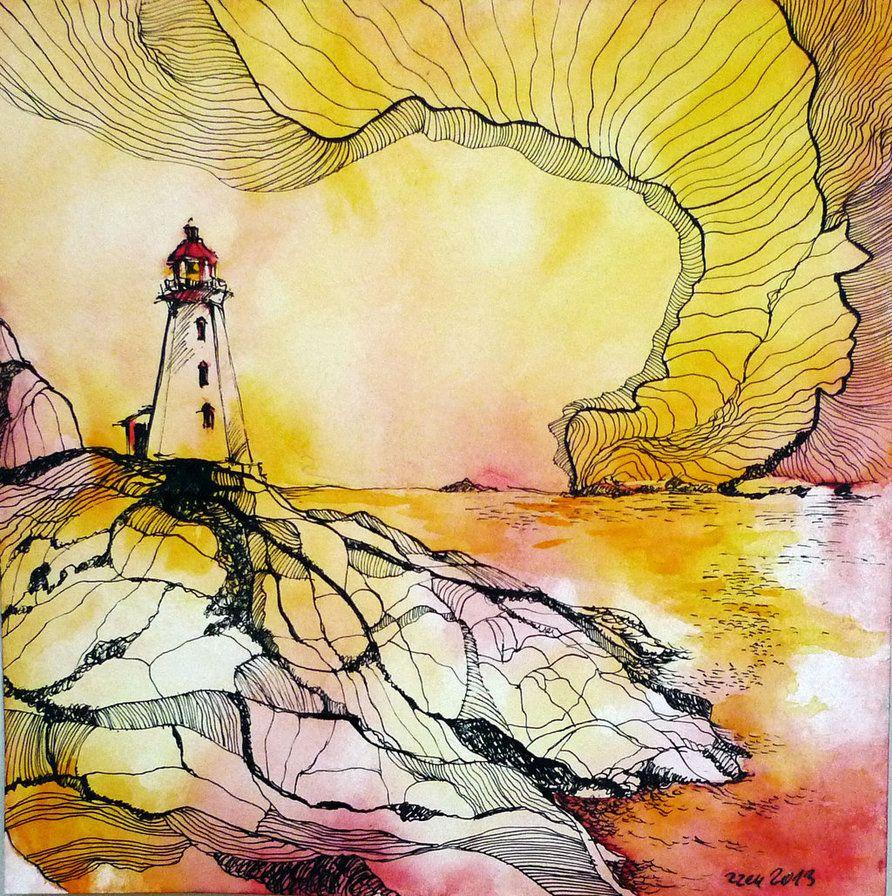 Watercolor, Ink, Watercolor