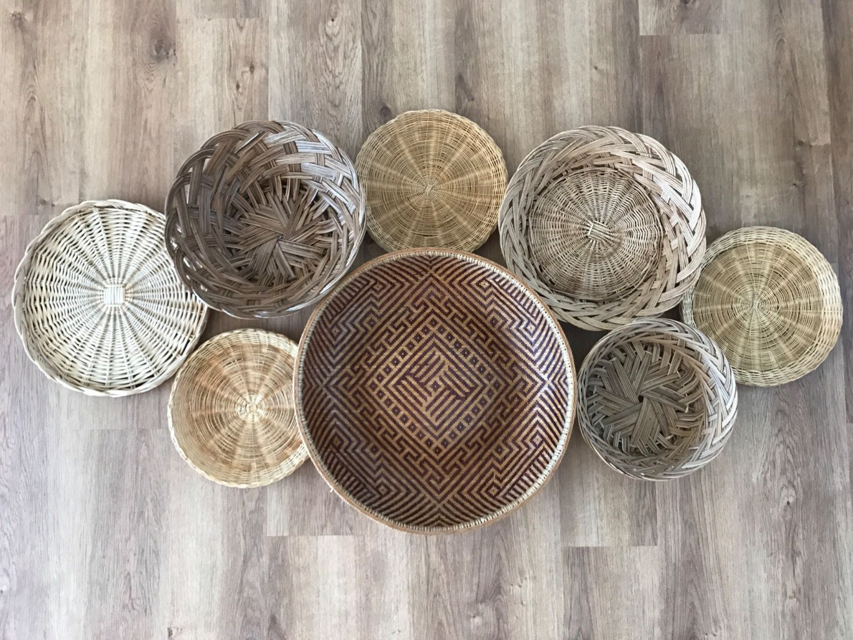Boho Vintage Set Of Wicker Rattan Woven Wall Hanging Baskets