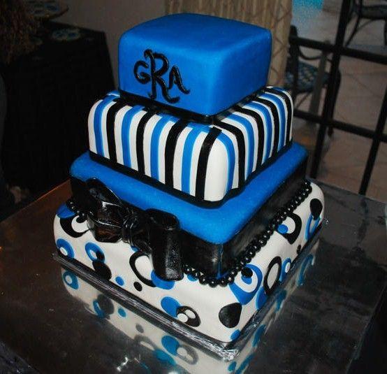 Contemporary Blue Black Wedding Cake