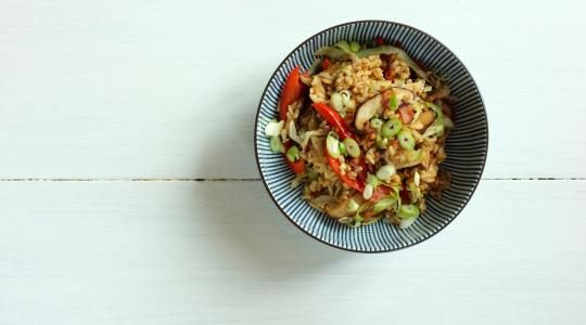 Stir Fried Rice with Bacon and Mushrooms Recipe from Jessica Seinfeld