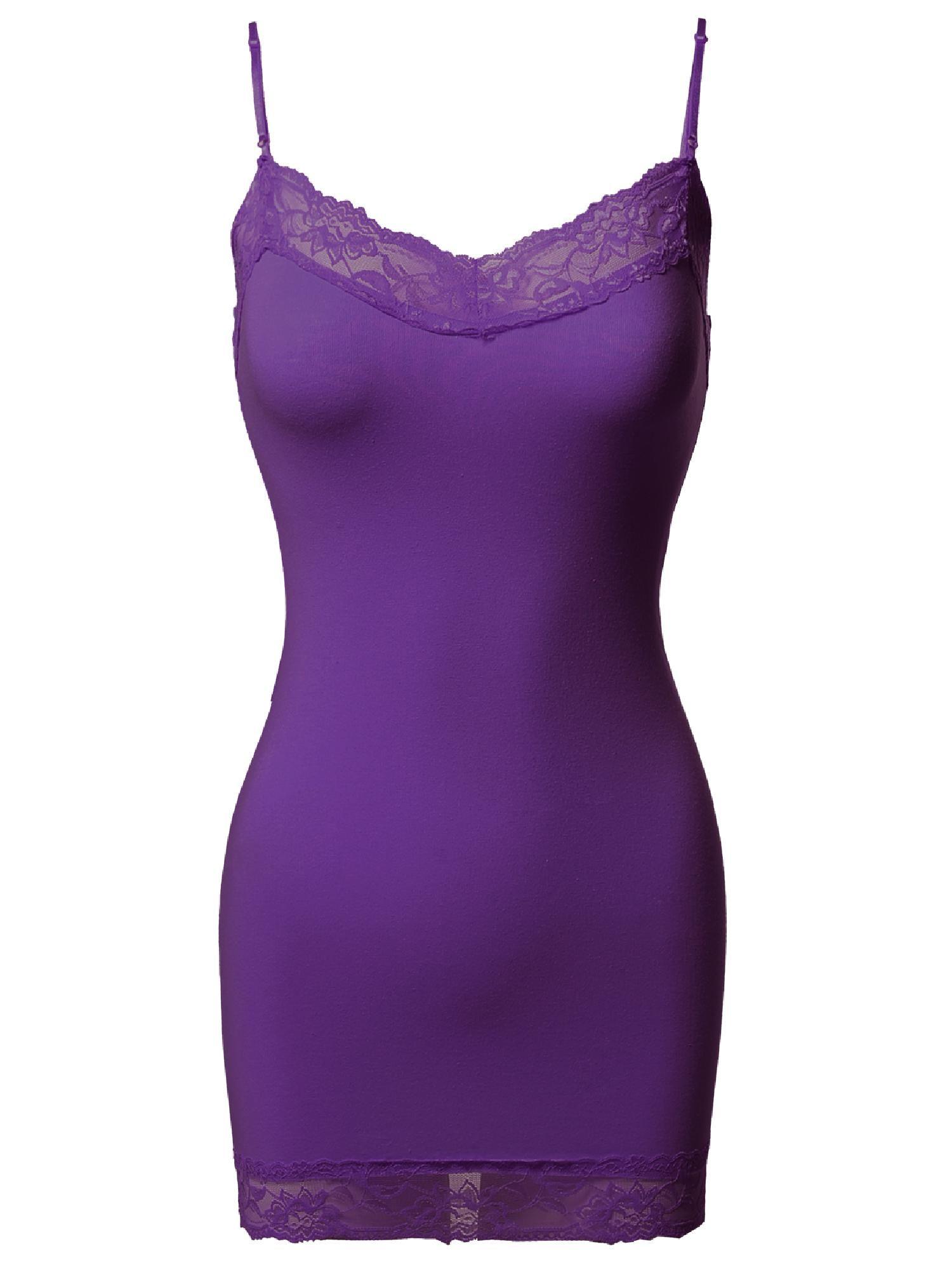 89154e41e3e FashionOutfit Women s Solid Soft Stretch Spaghetti Strap Lace Trim Tank Top Soft