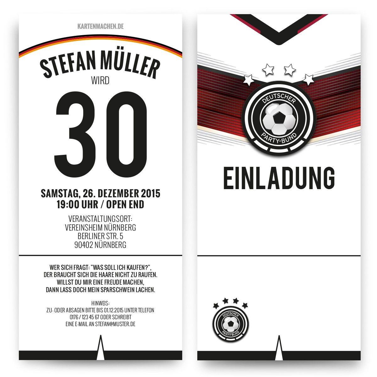 einladungskarten als deutschland trikot #geburtstag #einladung, Einladungen