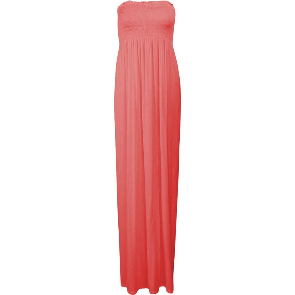Hot pink and orange dress  Sexy Strapless Tube Hot Coral Orange Peach Maxi Dress Long Floor