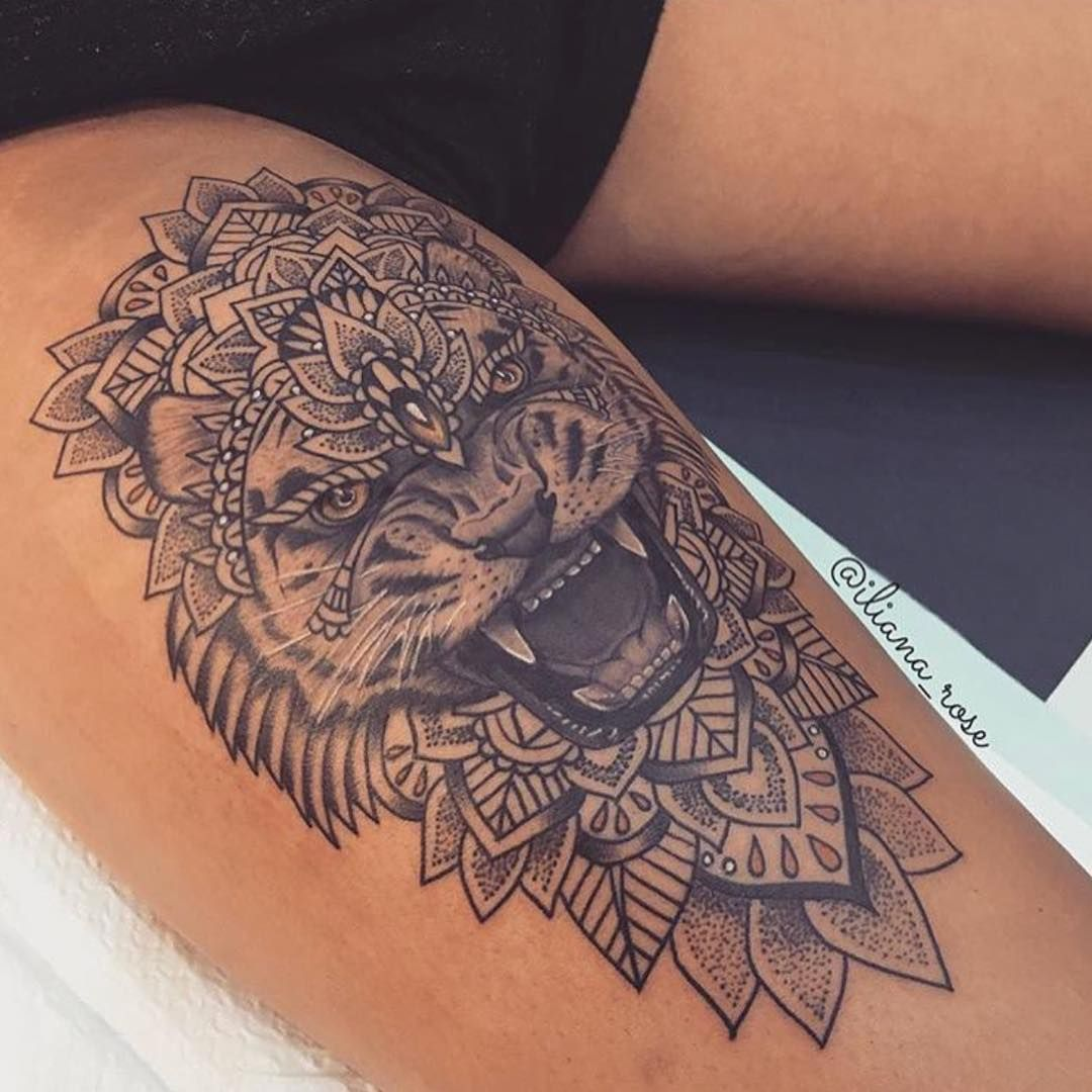 Beautiful lion thigh piece Feminine thigh tattoos, Thigh