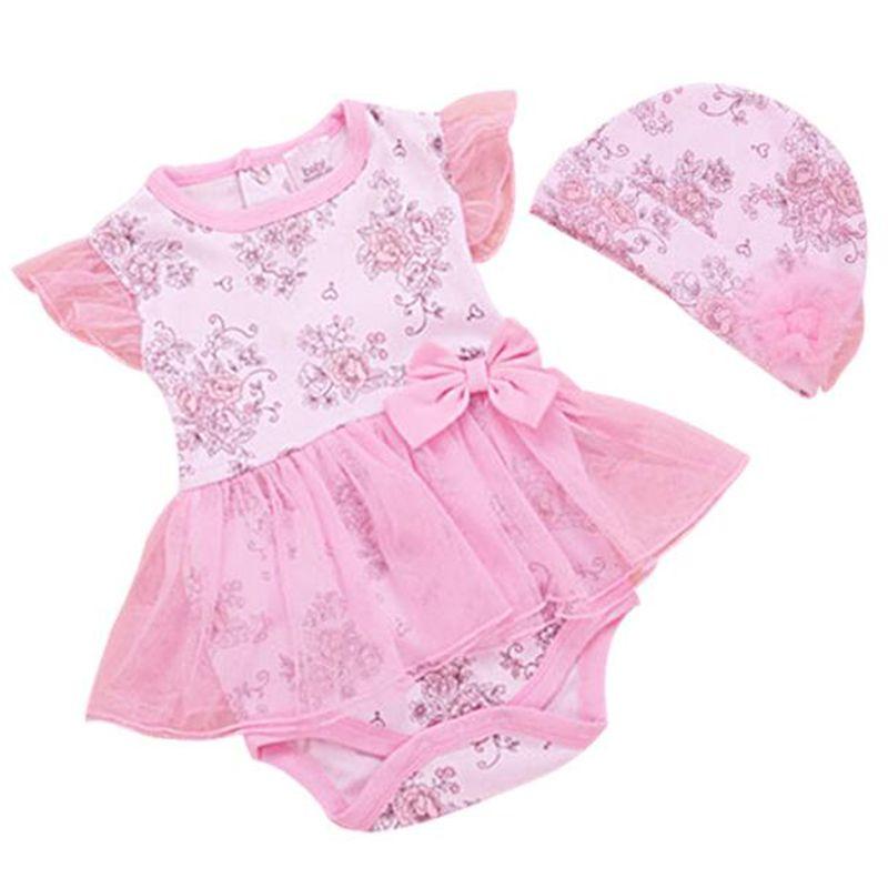 3c8c344f0 Barato Verão Princesa Bebê Recém nascido Bodysuits Da Menina + Chapéu  Infantil Subiu Print Floral Conjunto de Algodão Corpo Bebe Roupas Bodysuit  para Bebês