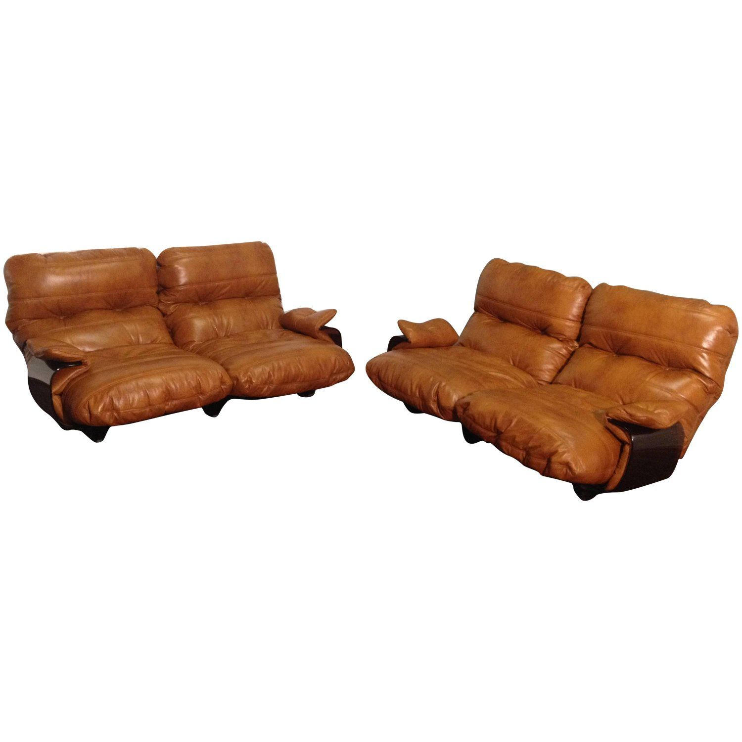 Cognac Leather Marsala Lounge Chairs by Michel Ducaroy for Ligne ...