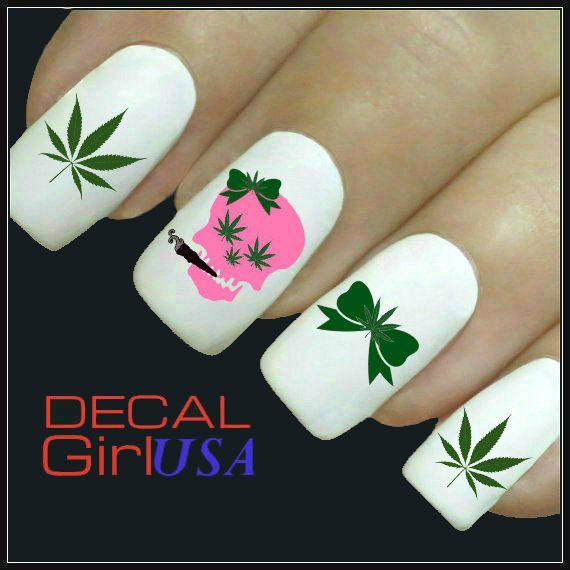 Cannabis Nail Art Decals 32 Marijuana Skull Nail by DecalGirlUSA ...