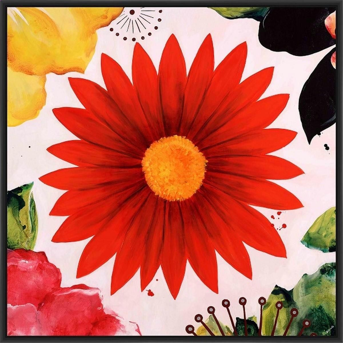 PETAL PARTY 28L X 28H Floater Framed Art Giclee Wrapped Canvas