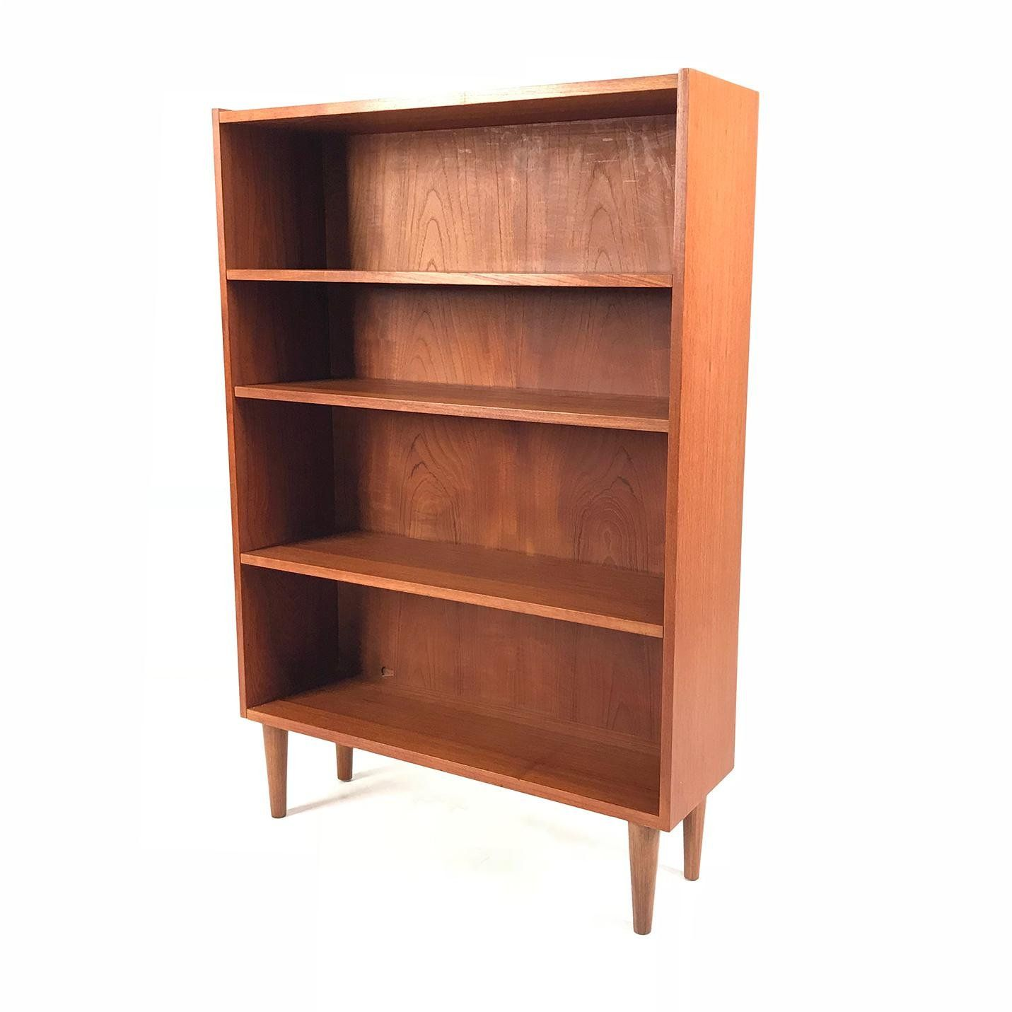 Vintage Danish Teak Bookcase For Sale Image 4 Of 4 Retro