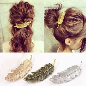 Women Gold/Silver Leaf Feather Hair Clip Hairpin Barrette Bobby Pins Hair Accs $0.99