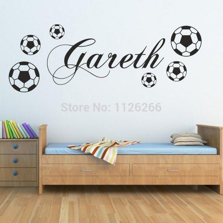 pas cher client fait nom personnalis gar ons avec foorball sport sticker mural pour enfants. Black Bedroom Furniture Sets. Home Design Ideas
