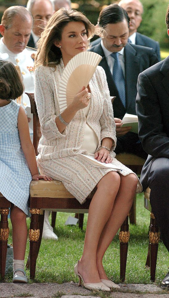 Princess Letizia of Spain attends the Christening of Princess Irene, July 14, 2005