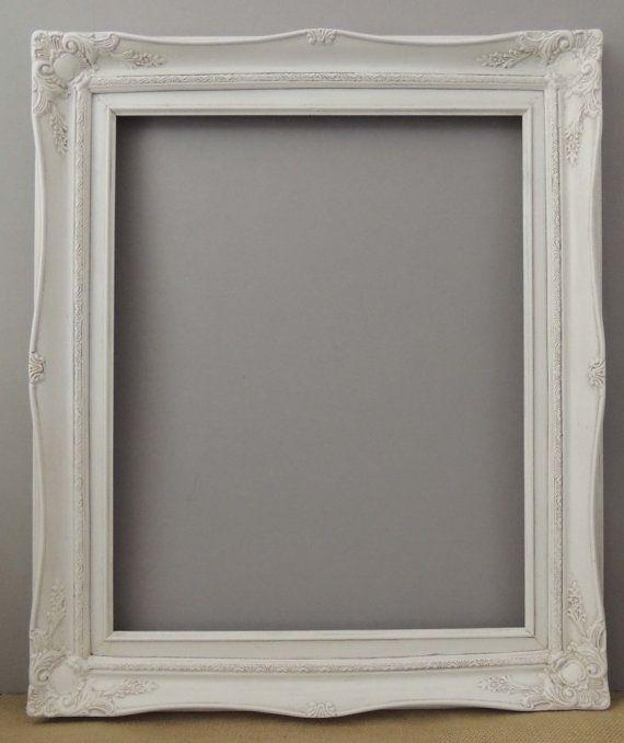 White Picture Frame / 16 X 20 Frame / Vintage Picture Frame / White ...